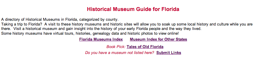 Historical Museums of Florida – A History Guide – Census Finder